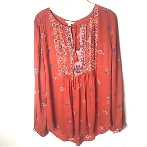 Lucky Brand Orange Floral Boho Peasant Top